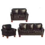 Leather Lounge  Set-Brown