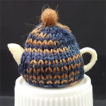 Teacosy - Variegated Navy/Brown with felt ball